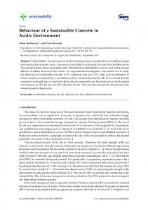Behaviour of a Sustainable Concrete in Acidic Environment - MDPI
