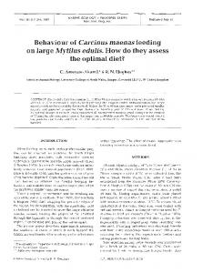 Behaviour of Carcinus maenas feeding - Inter Research