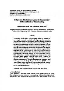 Behaviour of Reinforced Concrete Beams under Different Kinds of