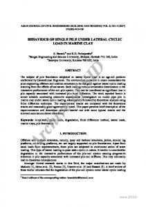 BEHAVIOUR OF SINGLE PILE UNDER LATERAL CYCLIC LOAD IN ...