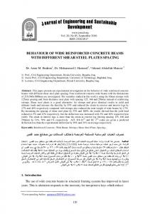 behaviour of wide reinforced concrete beams with different shear steel