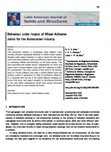 Behaviour under Impact of Mixed Adhesive Joints for the Automotive ...