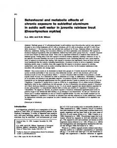 Behavioural and metabolic effects of chronic exposure to sublethal ...