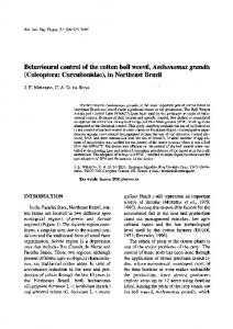 Behavioural control of the cotton boll weevil ...