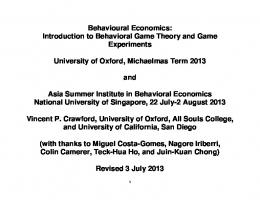 Behavioural Economics: Introduction to Behavioral Game Theory ...
