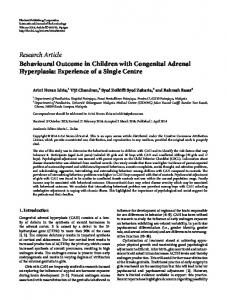 Behavioural Outcome in Children with Congenital Adrenal ...