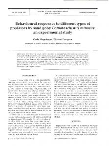 Behavioural responses to different types of predators ... - Inter Research