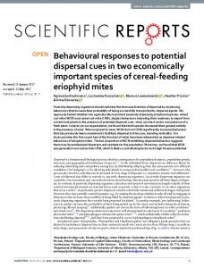 Behavioural responses to potential dispersal cues in ...