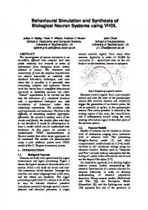 Behavioural Simulation and Synthesis of Biological Neuron Systems ...