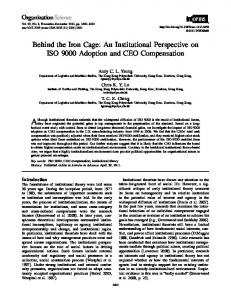 Behind the Iron Cage: An Institutional Perspective