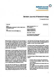 Beilstein Journal of Nanotechnology - Beilstein Journals