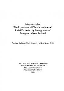 Being Accepted - Integration of Immigrants Programme - Massey ...