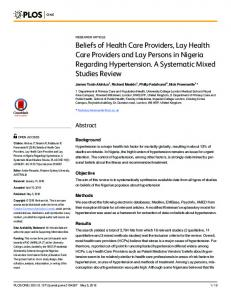 Beliefs of Health Care Providers, Lay Health Care ... - Semantic Scholar