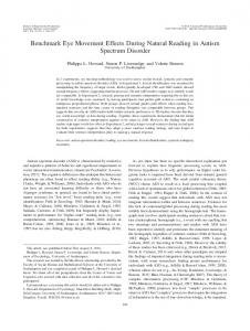 Benchmark Eye Movement Effects During Natural Reading in Autism ...