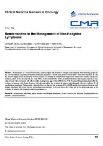 Bendamustine in the Management of Non-Hodgkins Lymphoma