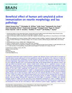 Beneficial effect of human anti-amyloid-b active ... - Oxford Journals