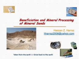 Beneficiation and Mineral Processing of Mineral Sands