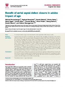 Benefit of atrial septal defect closure in adults - Semantic Scholar