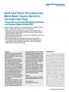 Benefit-risk of Patients' Online Access to their ... - Thieme Connect