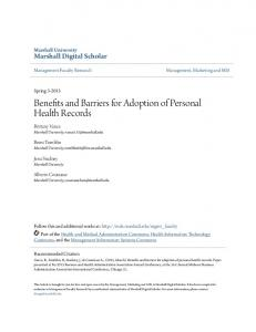 Benefits and Barriers for Adoption of Personal Health Records