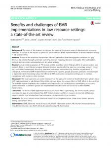 Benefits and challenges of EMR implementations