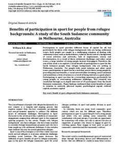 Benefits of participation in sport for people from ... - Journal Issues