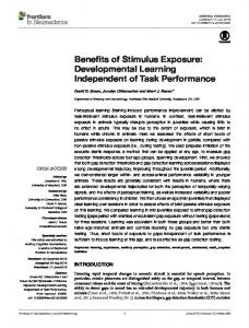 Benefits of Stimulus Exposure: Developmental ... - Semantic Scholar