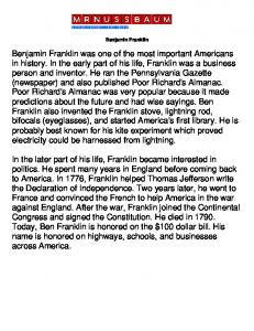 Benjamin Franklin was one of the most important Americans in ...
