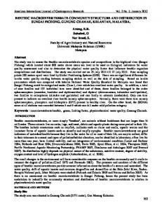 BENTHIC MACROINVERTEBRATE COMMUNITY STRUCTURE AND ...