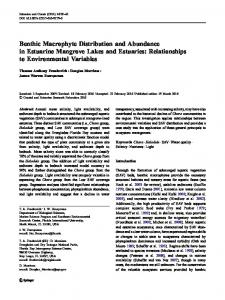 Benthic Macrophyte Distribution and Abundance in Estuarine ...
