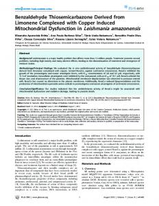 Benzaldehyde Thiosemicarbazone Derived from Limonene ... - PLOS