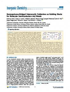 Benzoquinone-Bridged Heterocyclic Zwitterions as ... - ACS Publications