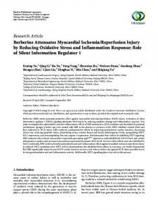 Berberine Attenuates Myocardial Ischemia/Reperfusion Injury by ...