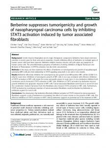 Berberine suppresses tumorigenicity and growth of ... - BioMedSearch