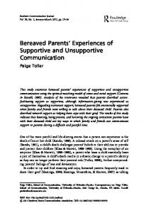 Bereaved Parents' Experiences of Supportive and ...