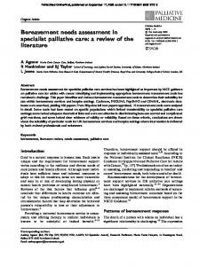 Bereavement needs assessment in specialist palliative care: a review ...