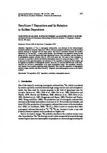 Beryllium-7 Deposition and Its Relation to Sulfate ... - Springer Link