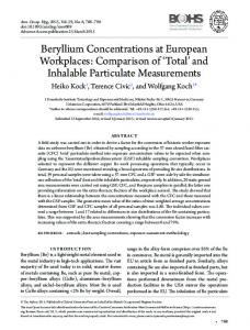 Beryllium Concentrations at European Workplaces - Oxford Journals