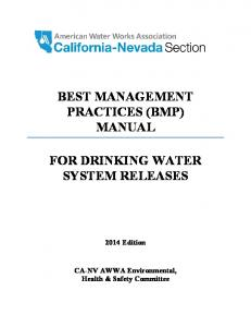 BEST MANAGEMENT PRACTICES (BMP) MANUAL FOR DRINKING WATER ...