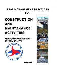 Best Management Practices - Construction and ... - Connect NCDOT
