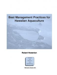 Best Management Practices for Hawaiian Aquaculture - CTSA