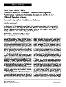 Best Paper of the 1980s: National Institutes of Health Consensus ...