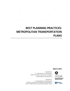 Best Planning Practices: Metropolitan Transportation Plans