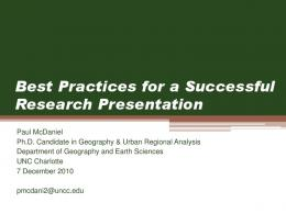 Best Practices for a Successful Research Presentation