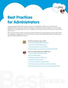 Best Practices for Administrators - Salesforce.com