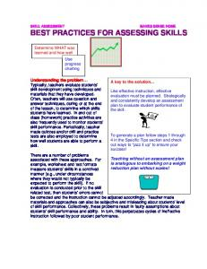BEST PRACTICES FOR ASSESSING SKILLS