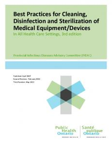 Best Practices for Cleaning, Disinfection and Sterilization of Medical ...