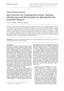 Best Practices for Computational Science: Software Infrastructure and ...