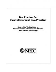 Best Practices for Data Collectors and Data Providers