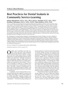 Best Practices for Dental Sealants in Community